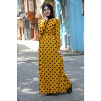 Women's Polka Dot Mustard Patterned Hijab Dress 1549BGD19_249