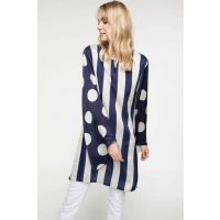 Women's Polka Dot Patterned Striped Tunic J4246AZ.18HS.WT56