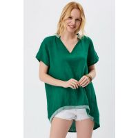 Women's Green Italian Sim Stripe Linen Tunic T-78740