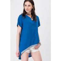 Women's Sax Italian Sim Striped Linen Tunic T-78740