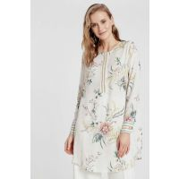 Women's Ecru Printed Tunic 9SQ375Z8