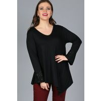 Women's Black Sleeve Sequin Tapered Cut Tunic M9291