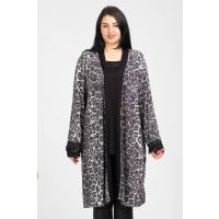 Women's Gray Tunic Look Sequins Detailed Long Cardigan 65N12284