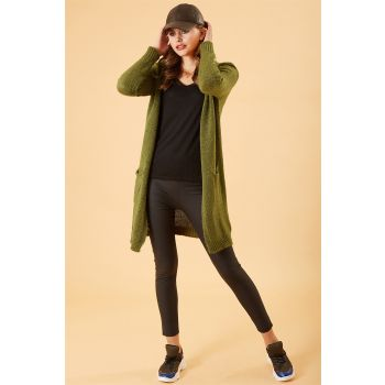Basic Long Khaki Colored Sweater Cardigan