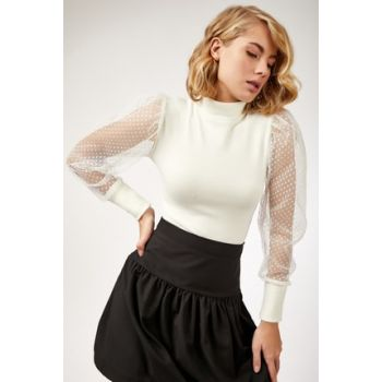 Women's Ecru Handle Tulle Turtleneck Lycra Sweater T