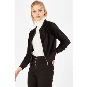Women's Black Corduroy Velvet Zipper Short Jacket 235-9KB8623CKT