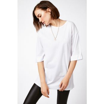 Happiness Istanbul Women's White Cotton Loose Cut Combed Tunic Oversized T-Shirt 5615 CR00147