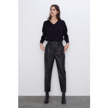 FAUX LEATHER TROUSERS WITH BELT