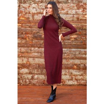 Half Turtleneck Sweater Midi Burgundy Dress