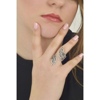 Women Antique Silver Plated Leaf Ring LBKDNYZKAGK1561