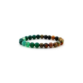 Green Pied Agate Natural Stone Mens Bracelet B656