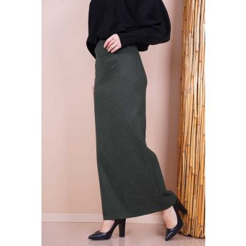 Flecked Pattern Khaki Women Skirt