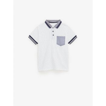 PRINTED POLO SHIRT WITH RIBBED TRIMS