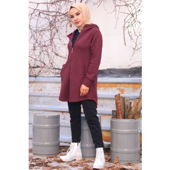 Oval Cut Maroon Cardigan with Side Pockets