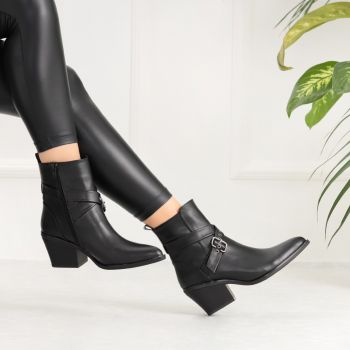 Yatopra Black Arched Thick Heeled Boots