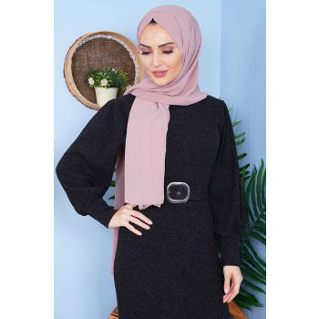 Waist Belted Cord Black Tricot Dress