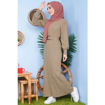 Waist Belt Mink Tricot Dress