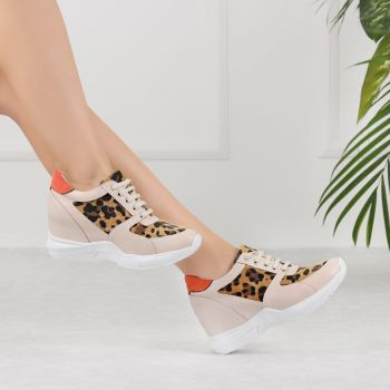 Yukito Leopard Beige Hidden Heeled Sport Shoes