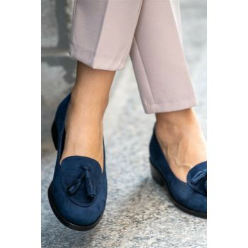Navy Blue Women Oxford Shoes 002056DB