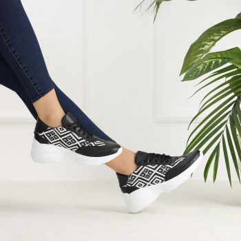 Koba Thick Soled Sports Shoes with Rug Pattern