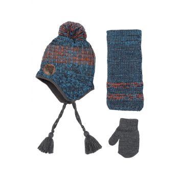 Boys Kids Scarfs Beanie Gloves Set 1-4 Age Gray Melange K8929 K8929grimelanj