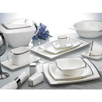 86  Piece Nbl Bone China Platinum Lines Square Dining Set.