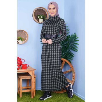 Degaje Collar Crowed Patterned Smoked Hijab Dress