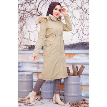 Hooded Inside Fleece Camel Coat