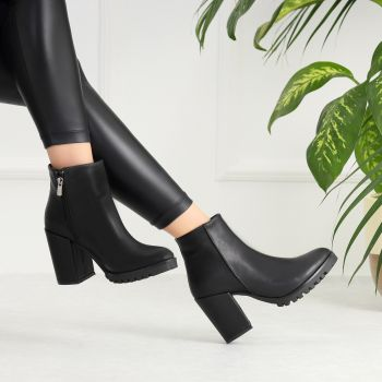 Alberto Black Thick Heeled Women Boots