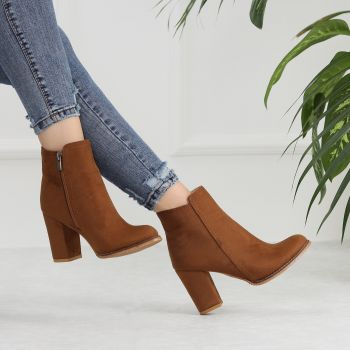 Osipa Suede Tan Color Thick Heels Short Women Boots