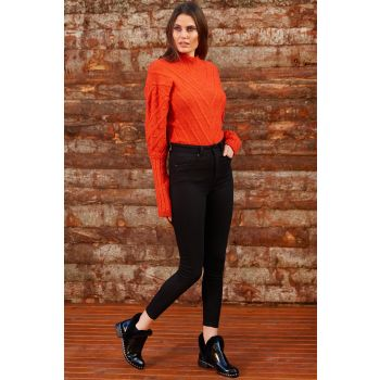 Balloon Sleeve U-Neck Orange Sweater Pullover