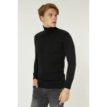 Black Mens Jacquard Long Sleeve Turtleneck Sweater A92S5243