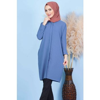 Back Button Indigo Hijab Tunic