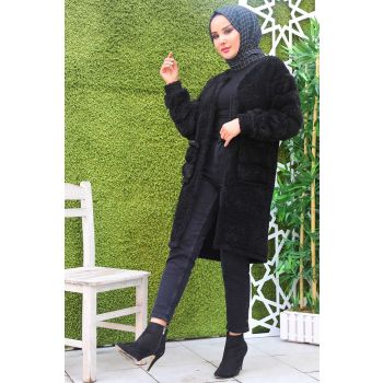 Black Cardigan with Fur Pockets