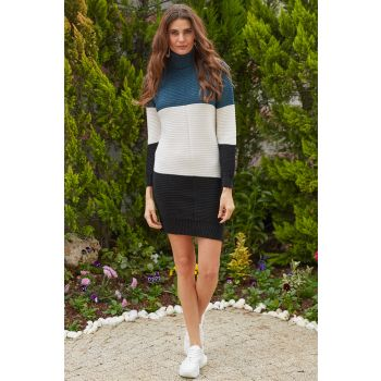 Three Colored Turtleneck Navy Blue Sweater Dress