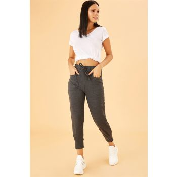 Gray Top Waist Elastic Basic Tracksuit