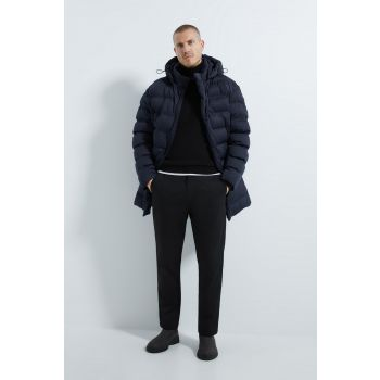 HOODED THREE-QUARTER-LENGTH PUFFER COAT