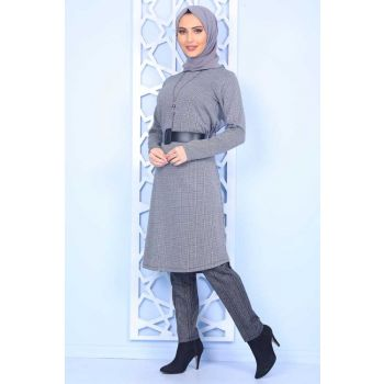 Mini Square Patterned Arched Gray Hijab Dress