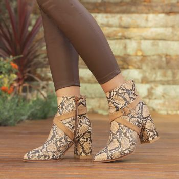 Karzeti Serpent Camel Patterned Pointed Toe Boots