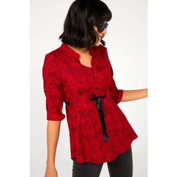 Women Red Floral Patterned Terry Cotton Satin Piping Shirt S-20K0250007