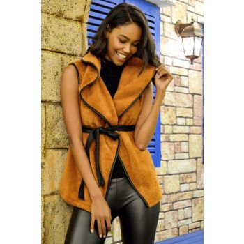 Cinnamon Shawl Collar Leather Binding Vest