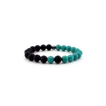 Solfer to Natural Turquoise And Lava Stone Mens Bracelet B531