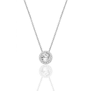 Women's Silver Diamond Model Single Stone Necklace SGTL10035