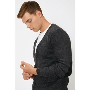 Men Gray Button Detailed Cardigan 0KAM81012LT