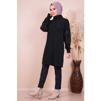 Sleeves Sim Detailed Degaje Neck Black Tunic