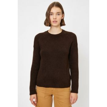 Women's Coffee Braided Sweater 0KAK92712HT