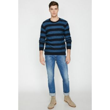Men's Navy Blue Striped Pullover 9KAM91285OT