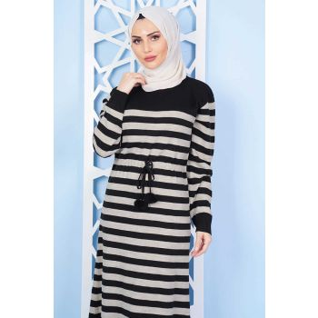Line Patterned Pompon Black Sweater Dress