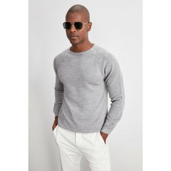 Gray Men's Textured Cycling Collar Knitwear Sweater TMNAW20KZ1405