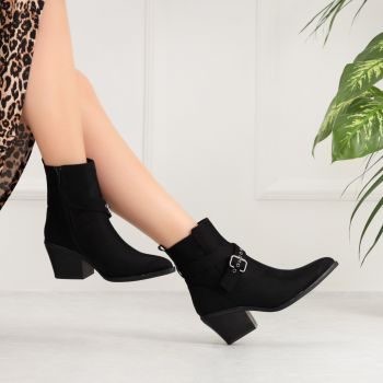 Yatopra Suede Black Belt Thick Heeled Boots